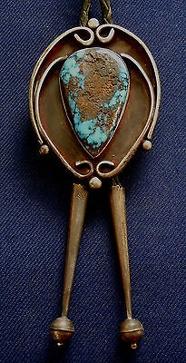 NATIVE AMERICAN STERLING Silver TURQUOISE Cab Vintage BOLO TIE