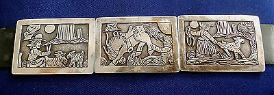 Navajo Becenti Sterling Cutout Overlay Vintage  Storyteller Concho Belt