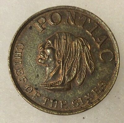 Vintage Pontiac Chief Of The Sixties Token With Indian Head