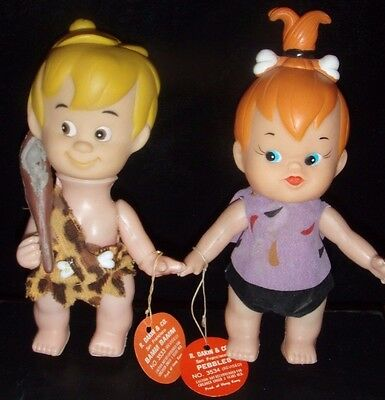 Pebbles and Bam Bam Dakin Figures / Flintstones-Hanna Barbera / With Tags 1970