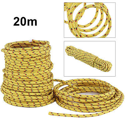 LARGE 20M LONG x 6mm THICK ROPE HOLDS 300Kg Yellow Braided Utility Waterproof