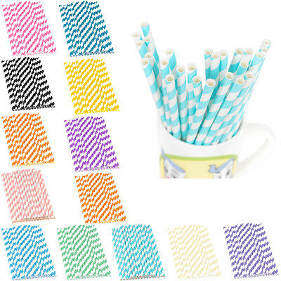 Colorful Reusable Hard Paper Stripe Drinking Straws Home Wedding Party Decor