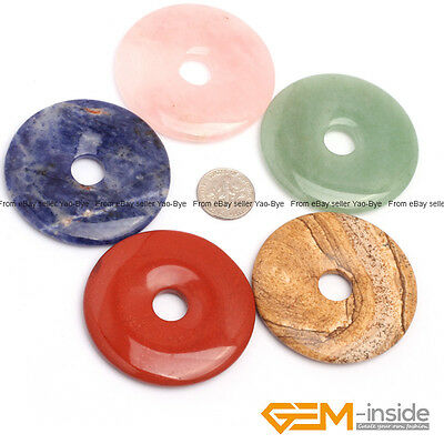 Wholesale Lot Natural Assorted Stone Round Donut Beads For Jewellery Making 1Pcs