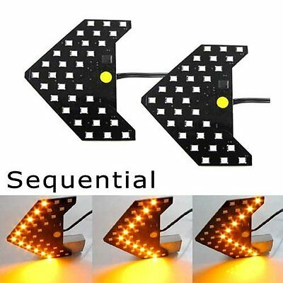 Amber 33SMD Sequential LED Hidden Arrows Panel Car Side Mirror Turn Signal Light