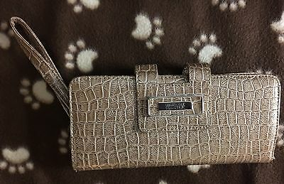 Kenneth Cole Reaction Tab Clutch with Strap Wallet Faux Croc SAND NWT $50
