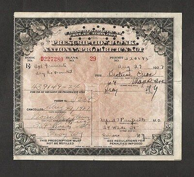 U.s. 1927 Prohibition Act Prescription For Whiskey, Troy, New York