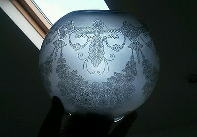 TERRIFIC Victorian Relief Etched swags tails floral Glass Oil Lamp Shade Duplex