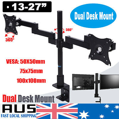 Dual HD LED Desk Monitor Stand Mount Bracket 2 Arms Holds LCD Screen