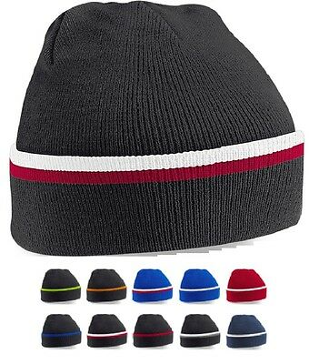 Contrast Colour Two Tone Soft Acrylic Winter Beanie Knitted Ski Hat