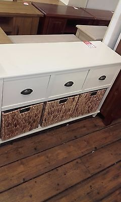 Cream 6 Drawer Console Table