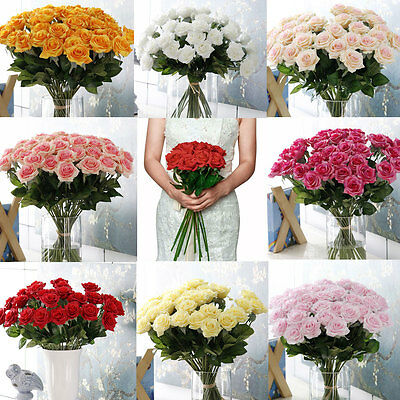 20Head Real Latex Touch Rose Flowers For wedding Party Decor Valentines Gift
