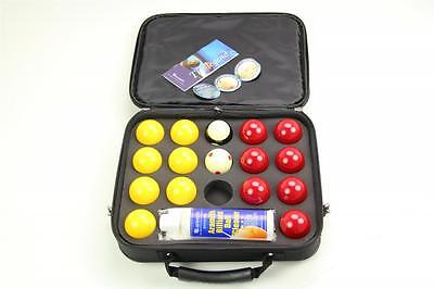 """SUPER ARAMITH PRO CUP 2"""" Red & Yellow Pool Balls, Ball Cleaner & Case Set!"""