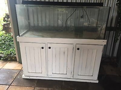 4 Foot Fish Reptile Tank & Cabinet Shabby Chic White & Accessories