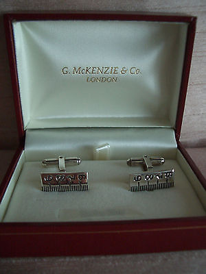 Sterling Silver (Hall Marked) Cufflinks Engraved With a Measure Design New/Boxed