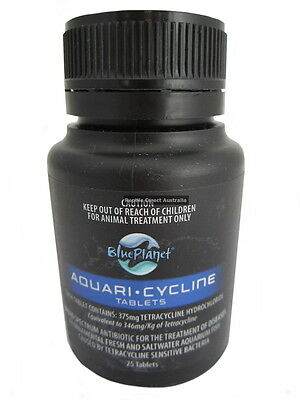 Blue Planet Aquari-Cycline 25 or 100 tablets fish tank aquarium antibiotic treat