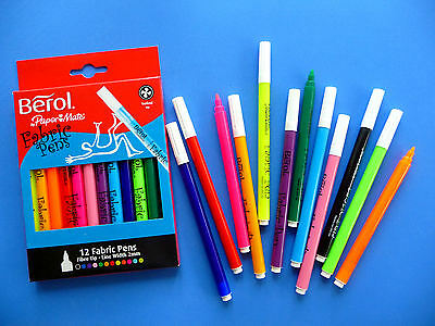 Berol Fabric Pens - Assorted Colours - 2mm Nibs - T-shirt Painting - Pack of 12
