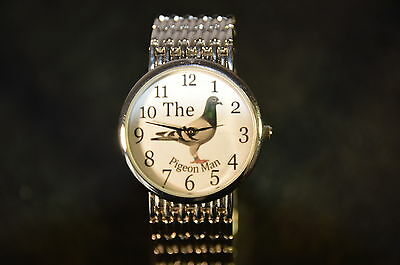 Superb Racing Homing Pigeon Watch Quarts Movement Battery Operated Silver Colour