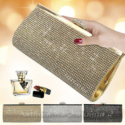 Women Sparkly Glitter Crystal Clutch Bag Wedding Bridal Evening Handbag Purse