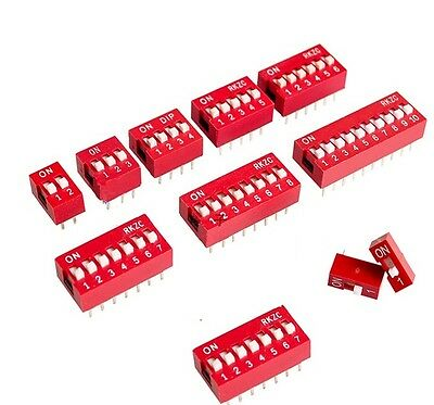 10Pcs Red 2.54mm Pitch Switch Ways Slide Type DIP 1 2 3 4 5 6 7 8 9 10 12 Bit uk