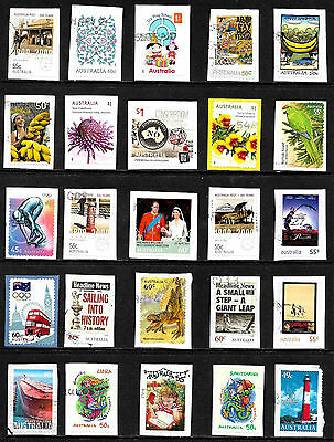 50+ Different Australian Commemoratives fine used on paper from Kiloware 17/03