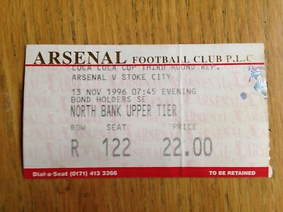 Arsenal v Stoke City 1996/97 League Cup match ticket