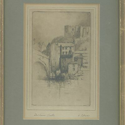 Framed Etching Durham Castle - Signed By Artist Featherstone Robson (1880-1936)