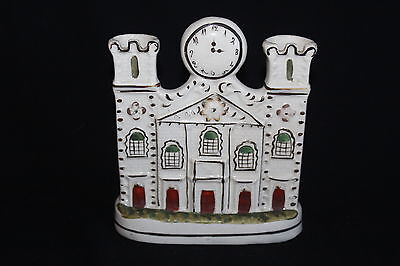 Antique Staffordshire Pottery Flatback House Spill Holder With Clock Face