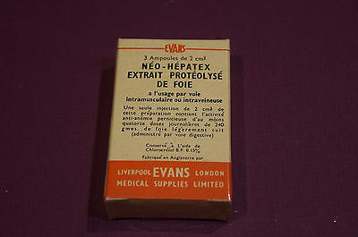 VINTAGE UNOPENED NEO-HEPATEX PROTEOLYSED EXTRACT OF LIVER-3 Ampoules of 2ml.