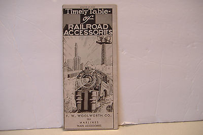 Timely Table Of Railroad Accessories~F W Woolworth Co~Marlines Train Accessories