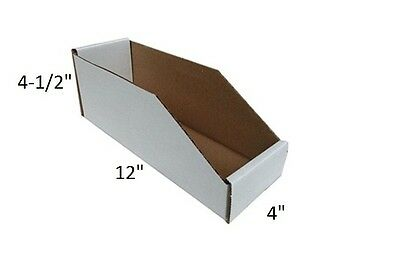 "Lot of 50 BINMT412 Open Top Inventory Bin Box Corrugated Cardboard 4"" 12"" 4-1/2"""