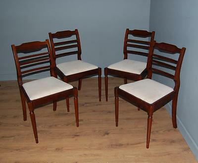 Four Ladder Back Regency Style Mahogany Fluted Leg Dining Chairs