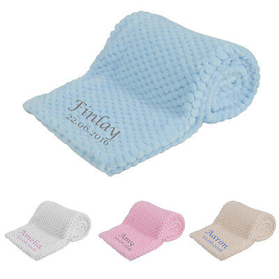 Personalised Embroidered Super Soft Baby Blanket Pink Cream Blue White Newborn
