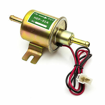 12v Universal Low Electric Inline Fuel Pump Petrol Diesel One Way 2 Wire HEP-02A