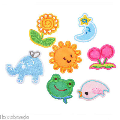 7PCs HOT Animal Flower Elephants Embroidered Iron Sew On Patch Dress Jeans Badge