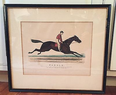 Large Antique 19th c. Currier & Ives Horse Equestrian Hand Colored Print Parole