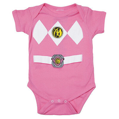 Mighty Morphin Power Rangers Infant Baby Costume One-Piece Diaper-Suit - Pink