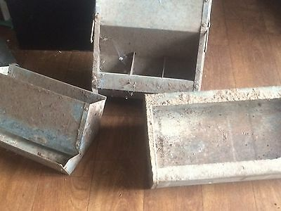 Rare Trio Of Vintage Galvanised Chicken Feeders