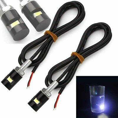 2x Car Motorcycle License Number Plate Screw Bolt Light Bulb Black 12V LED SMD