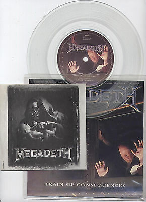 MEGADETH Train Of Consequences rare clear vinyl 7'' single & unused patch 1994