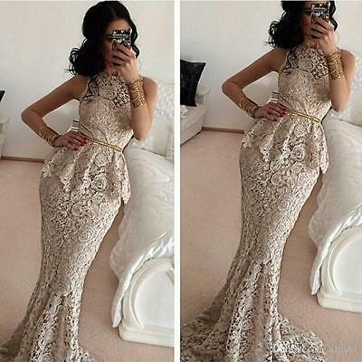 Lace Mermaid Long Formal Evening Dress Celebrity Pageant Wedding Party Prom Gown