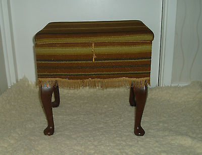VINTAGE RETRO 1960-70'S SEWING BOX / FOOTSTOOL Queen Ann legs