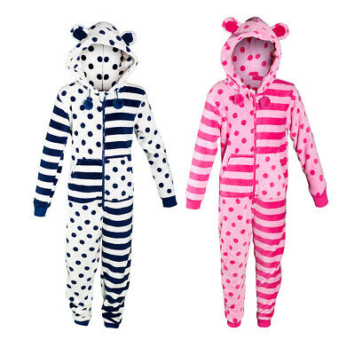 Children's Girls Novelty Pyjama PJ Jumpsuit Playsuit Stripes Spots Hooded Ears