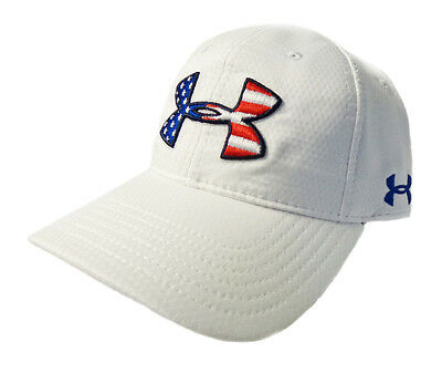 NEW Under Armour Heat Gear Performance USA Flag Logo Adjustable White Golf Hat