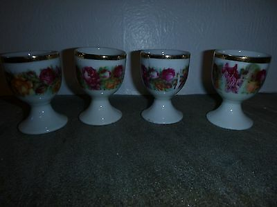 Matching Set Of Four Rose Patterned Egg Cups