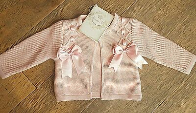 NEW couche tot dusky pink bow cardigan 3-4 years BNWT spanish / romany
