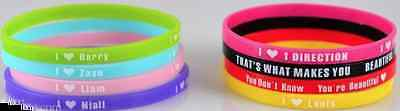 One Direction wristbands with one direction catchphrases