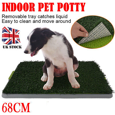 "27"" New Indoor Pet Toilet Dog Grass Mat Restroom Potty Training Loo Pad Tray"