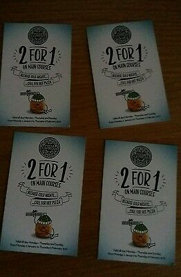 4 x Pizza Express 2 for 1 main meal vouchers