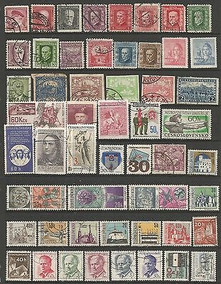 CZECHOSLOVAKIA - Collection of 55 different fine used postage stamps