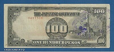 JAPON // JAPAN -- OCCUPATION PHILIPPINES - 100 PESOS ND (1944) - VF+ - PICK 112a